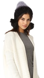 Jocelyn Mink Tails Beanie With Fur Pom Pom Lavender Grey