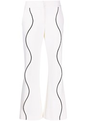 Genny Contrasting Trim Flared Trousers White