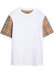 Burberry Vintage Check Sleeve Cotton T Shirt White