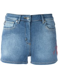 Love Moschino Heart Patch Denim Shorts Blue