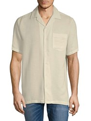 Saks Fifth Avenue Black Short Sleeve Camp Button Down Shirt Taupe
