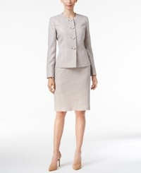 Le Suit Four Button Tweed Skirt Pebble