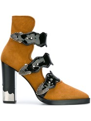 Toga Buckle Strap Ankle Boots Brown