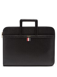 Thom Browne Sliding Handle Grained Leather Document Holder Black