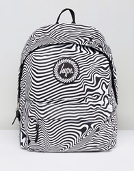 Hype Backpack In Black With Warped Stripes Black