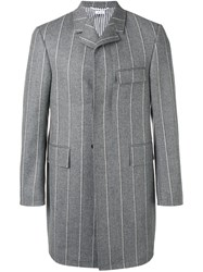Thom Browne Striped Single Breasted Coat Grey