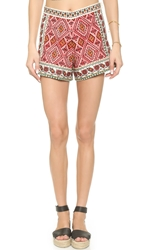 Glamorous Embroidered Shorts Cream Red