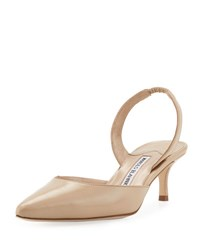 Manolo Blahnik Carolyne Leather Low Heel Slingback Pump Glomer 163 Beige