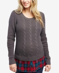 Motherhood Maternity Cable Knit Sweater Cream Plaid