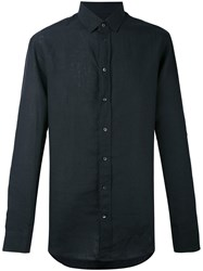 Armani Collezioni Casual Linen Shirt Men Linen Flax 43 Black