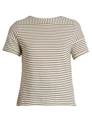 A.P.C. Malia Striped Cotton Blend Jersey Top Cream Stripe