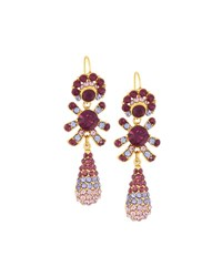 Jose And Maria Barrera Golden Pave Crystal Triple Drop Earrings Amethyst