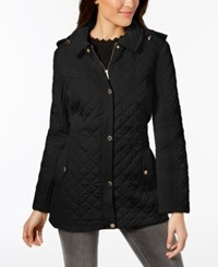 Jones New York Hooded Quilted Coat Black