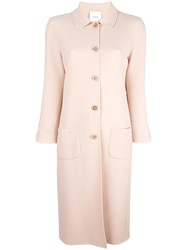 Agnona Patch Pockets Midi Coat Pink Purple