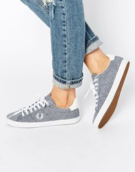 Fred Perry Howells Grass Print Blue Plimsoll Trainers Blue