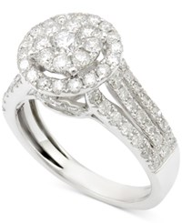 Macy's Diamond Round Cluster Engagement Ring 1 1 2 Ct. T.W. In 14K White Gold