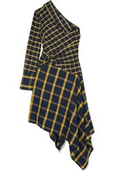 Monse Asymmetric One Shoulder Ruffled Checked Brushed Cotton Dress Yellow