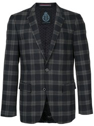 Guild Prime Checkered Blazer Polyester Polyurethane Rayon Black