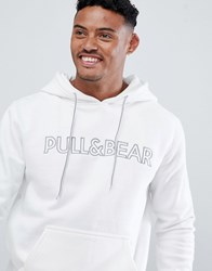 Pull And Bear Pullandbear Hoodie In White With Logo