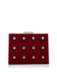 Nasty Gal Power Grid Velvet Clutch Red Silver