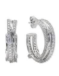 Crislu Platinum And Cubic Zirconia Entwined Hoop Earrings Silver