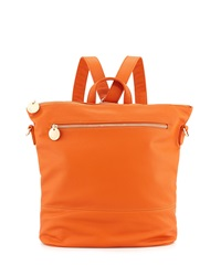 Neiman Marcus Pebbled Faux Leather Convertible Bucket Backpack Orange