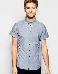 Blend Of America Blend Slim Shirt Short Sleeve Buttondown All Over Print In Navy Navy