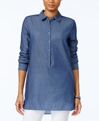 Tommy Hilfiger Chambray Tunic Shirt Only At Macy's Chambray Blue