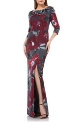 Kay Unger Floral Print Gown Burgundy Charcoal