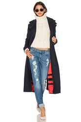 Tommy Hilfiger X Gigi Long Military Coat Navy