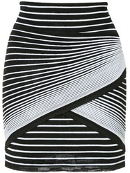 Balmain Striped Mini Skirt Black