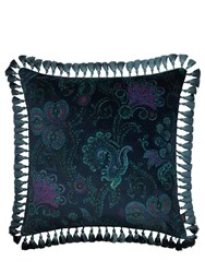 House Of Hackney Large Palme Cashmir Cotton Velvet Pillow Blue