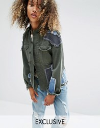 Milk It Vintage Military Jacket With Denim Patchwork Khaki Patch Green