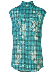 Faith Connexion Plaid Sleeveless Shirt Green