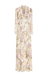 Giambattista Valli Floral Long Sleeve Gown White