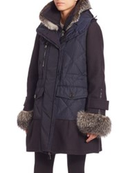 Moncler Elestoria Fur Trimmed Jacket And Vest Navy