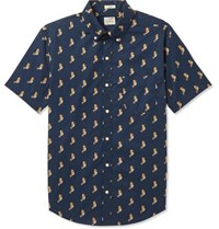 J.Crew Slim Fit Button Down Collar Printed Cotton Shirt Navy