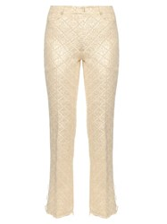 Simone Rocha Diamond Flower Jacquard Kick Flare Trousers Gold