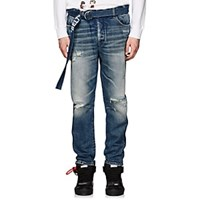 Off White C O Virgil Abloh Distressed Skinny Jeans Lt. Blue