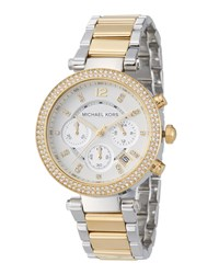 Michael Michael Kors 39Mm Parker Glitz Chronograph Watch Golden Silvertone