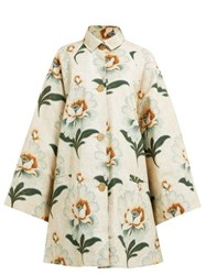 By Walid Floral Print Cotton Coat Green Print