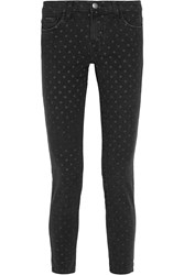 Current Elliott The Stiletto Polka Dot Mid Rise Skinny Jeans Black