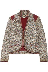 Talitha Printed Cotton And Silk Blend Jacket Burgundy
