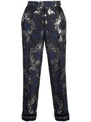 Vera Wang Flock Print Trousers Black