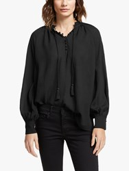 And Or Olivia Tassel Neck Blouse Black