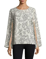 Context Split Swing Blouse Camel Ivory