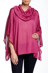 Woven Heart Cowl Poncho Pink