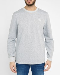 G Star Grey Core Logo Zip Round Neck Sweatshirt