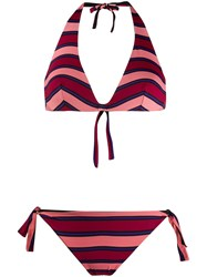 Fisico Striped Bikini Set Pink