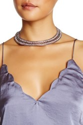 Free Press Frozen Chain Crystal Collar Necklace Metallic